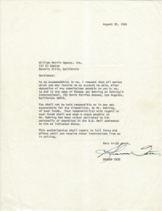Sharon Tate Signed Letter