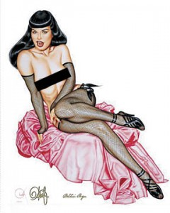Bettie Page Signed Lithograph
