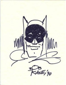 SIGNED SKETCH DRAWN BY BOB KANE OF BATMAN