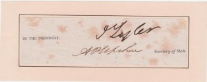 John Tyler Signature & Secretary of State Signature