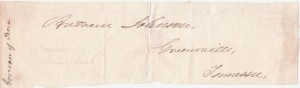 Governor Andrew Johnson Signature