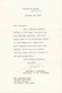 1947 LETTER FROM WHITE HOUSE