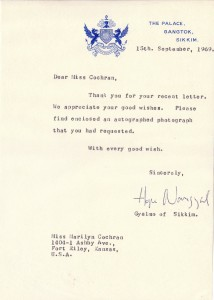HOPE COOKE NAMGYAL AUTOGRAPH, Queen consort of SIKKIM LETTER