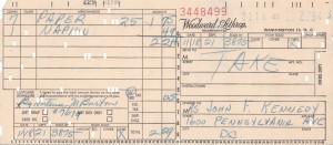 JFK RECEIPTS