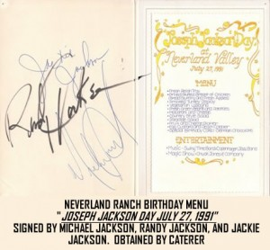 MICHAEL JACKSON AUTOGRAPHED MENU FROM NEVERLAND