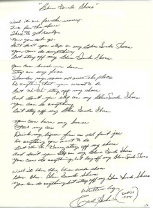 CARL PERKINS BLUE SUEDE SHOES HANDWRITTEN LYRICS