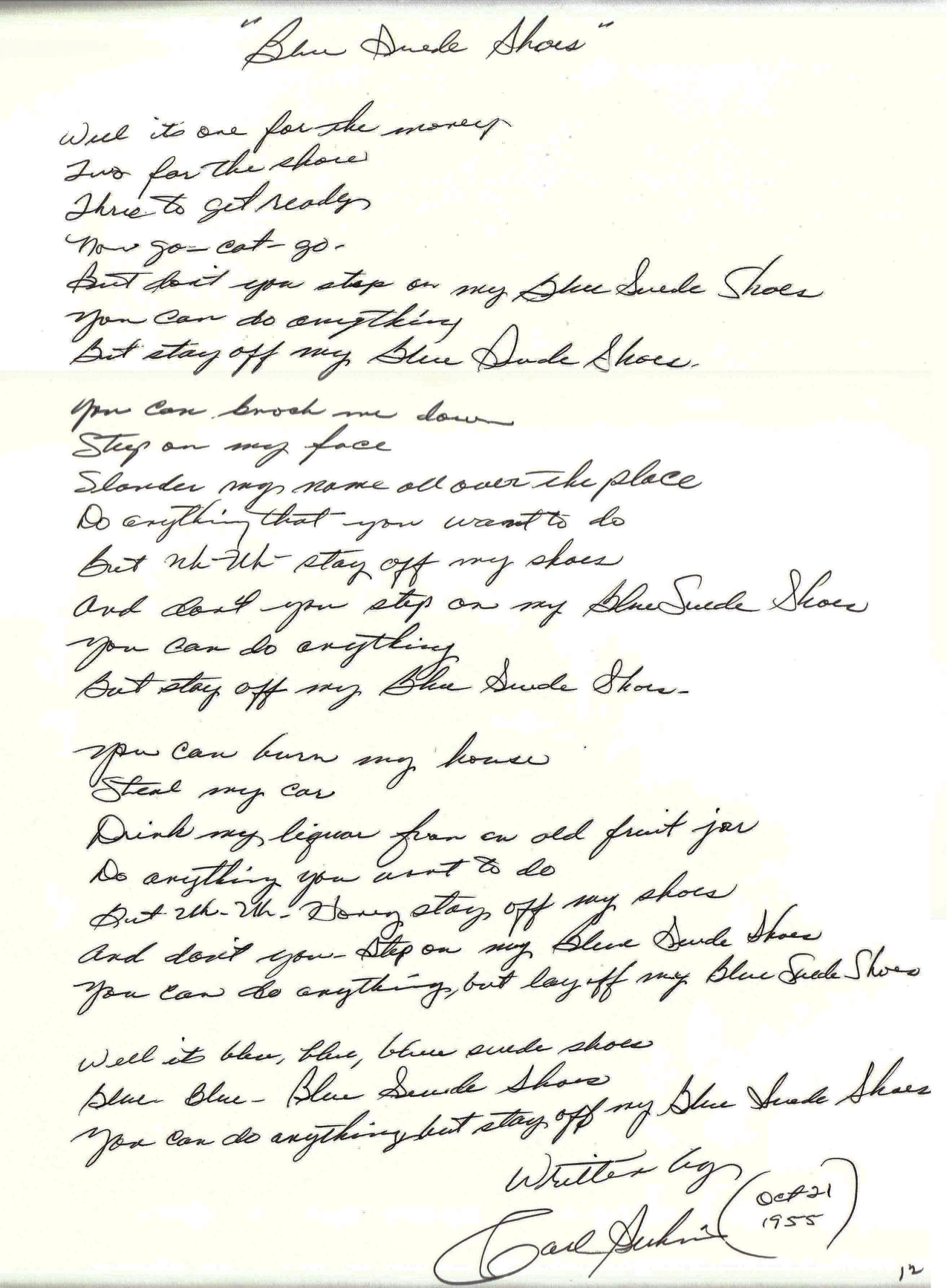 Blue Suede Shoes Lyrics