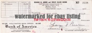 George Burns 1942 personal bank check
