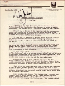 MICHAEL JACKSON SIGNED PRESS RELEASE