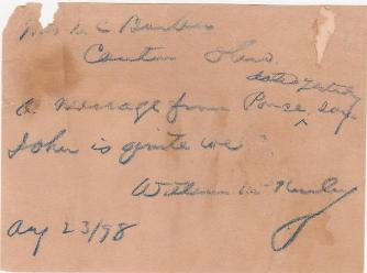 William Mckinley Note